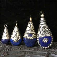 TBP518 непальский медный инкрустированный темно-синий Лазурит винтажные Подвески тибетские ювелирные изделия ручной работы