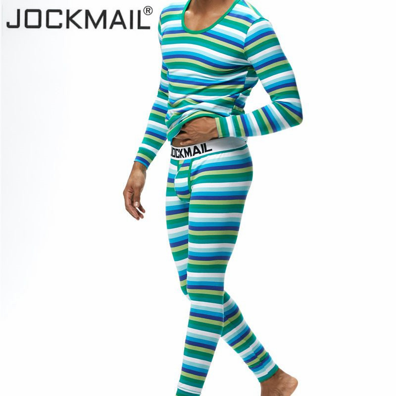 JOCKMAIL Men Thermal Underwear Sets Bottoms +Tops Winter Warm Long Johns Suit Sous Vetement Homme +thermo Shirt Stripes Prints(China)