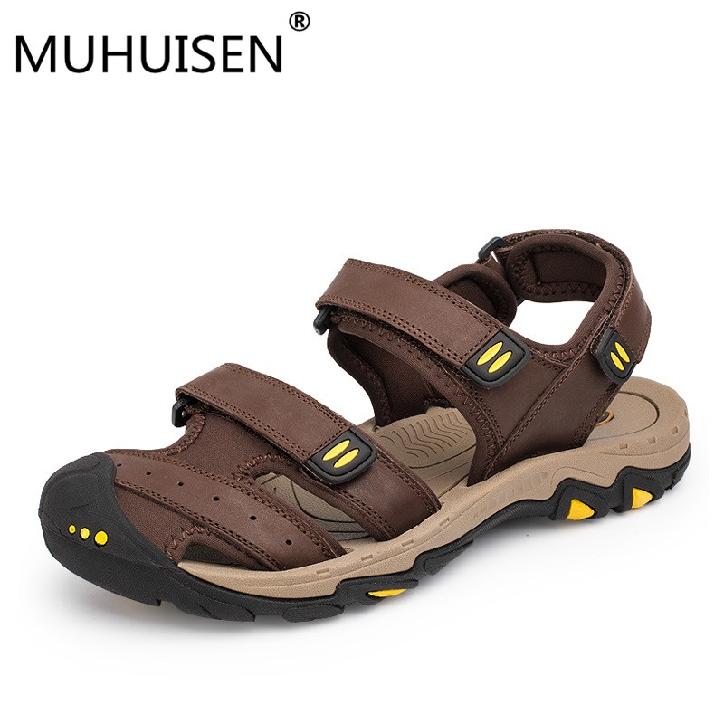 New Fashion Summer Shoes Cow Leather Men Sandals Mens Casual Shoes Non-slip Rubber Soles Beach Shoes Plus Size 38 ~ 47