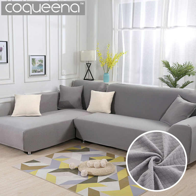 2 pieces Covers for L Shape Sofa Thick Diamond Pattern ...