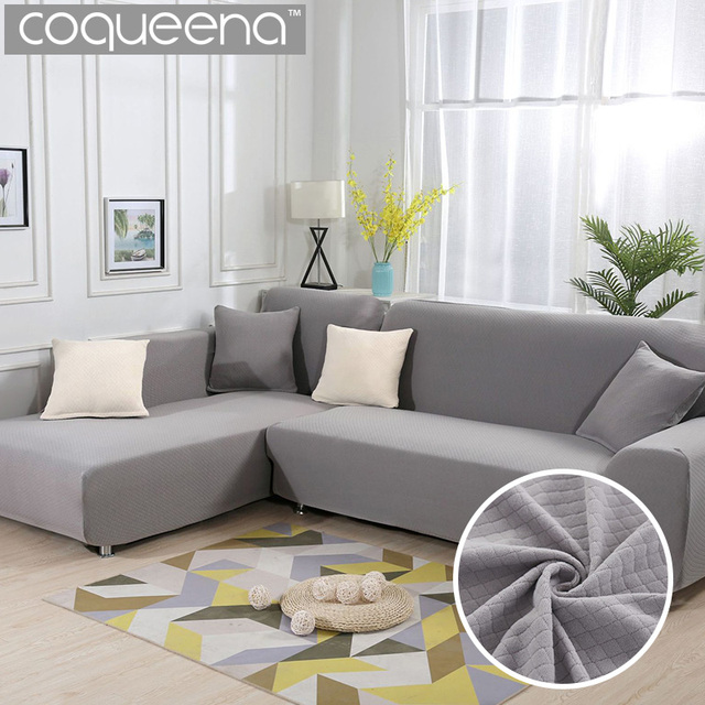 living room chaise lounge covers with grey sectional 2 pieces for l shape sofa thick diamond pattern stretch corner cover couch