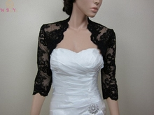 Elegant Lace Women Bolero Three quarter Sleeves Wraps Black Jackets Evening Party Capes Wedding Bridal shawls Cusom Made