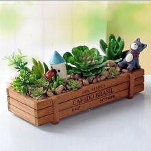 Creative wooden flowerpot desktop cosmetics stationery storage box plant small sorting miscellaneous boxes