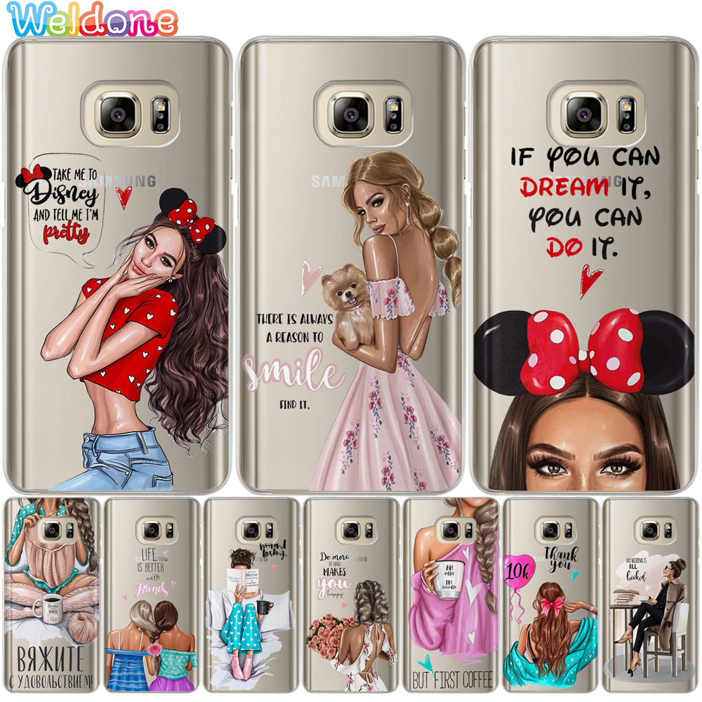 Fashion Girls Ragazza Women Gal Phone Case For Samsung S10 Lite S9 S8 Plus S7 S6 Edge J310 J330 J530 J2prime case cover Etui image