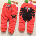 Infant baby boys and girls winter new pants 0-1-2-3 old baby cartoon cotton plus thick velvet trousers