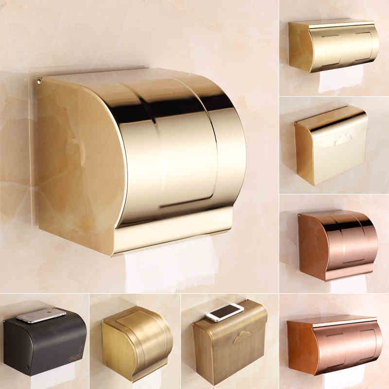 ФОТО Free Shipping Multi-colors Golden Bathroom Toilet Roll Paper Holder Box Wall Mounted Waterproof Paper Rack