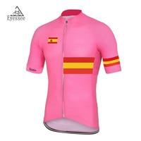 Розовый Испания Велоспорт Джерси 2018 Велосипедная форма Racing eyessee велосипед Джерси Топы корректирующие Велоспорт одежда Рубашка с короткими ...
