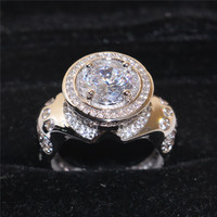 Luxurious 925 Sterling silver Cocktail Engagement Wedding Band Ring Finger 5A Zircon Rings for Men size 8 13