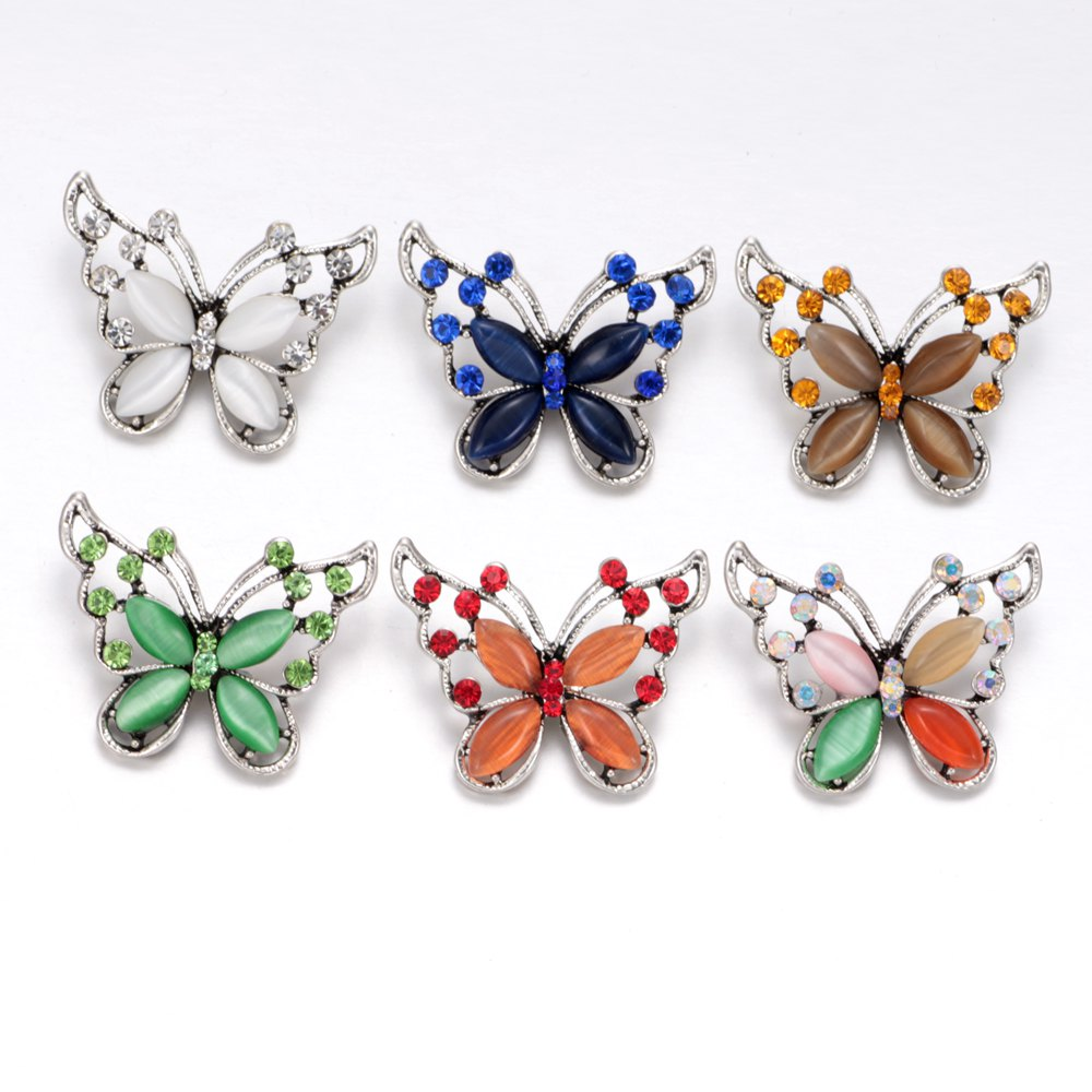 2017 New Arrivals 6pcs/lot Butterfly Pattern Buttons 18mm snap button Jewelry Faceted Snaps Fit Snaps Jewelry KZ0346 elliott erwitt snaps