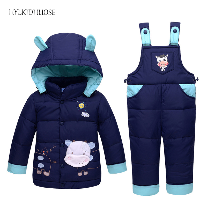 HYLKIDHUOSE 2017 Winter Baby Girls Boys Down Clothes Sets Children Outdoor Suits Thick Cartoon Coats+Pants Infant Kids Suits baby girls boys winter clothes sets children infant suits kids thick plaid warm coats pants two piece suit children kids suits
