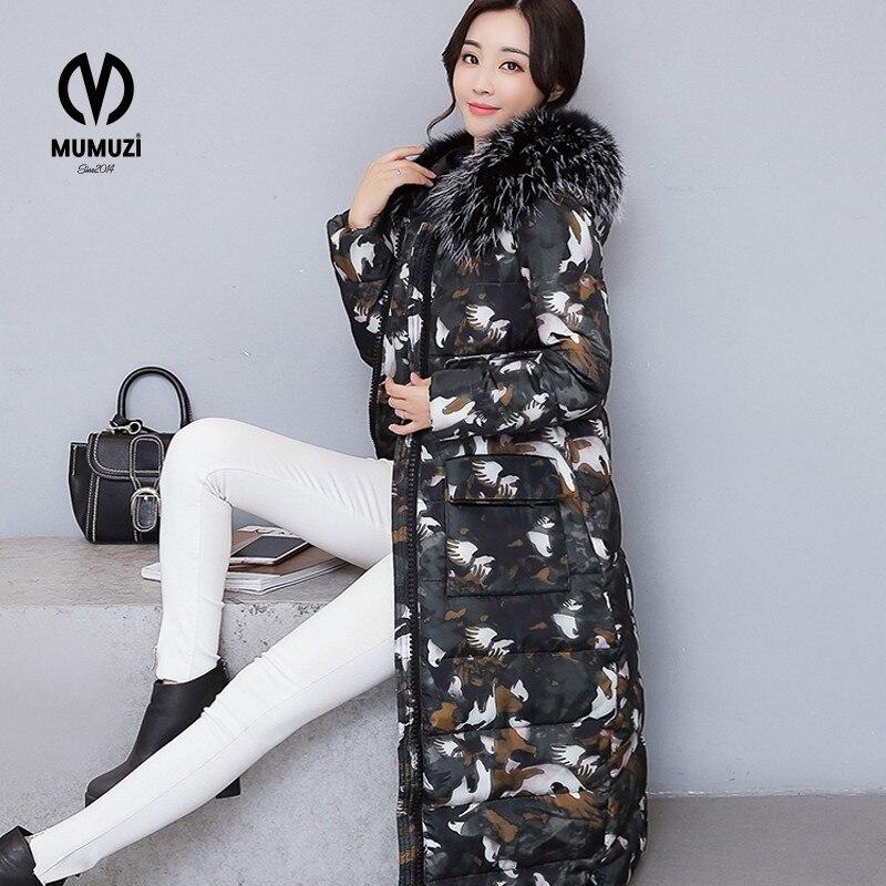 2017 winter font b women b font hooded coat fur collar thicken warm long font b