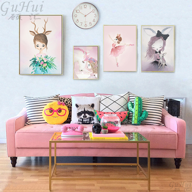 Nordic Cartoon Pink Unicorn Deer Rabbit Girl Canvas Painting No Frame Poster And Print Wall Pictures For Kids Room Home Decor