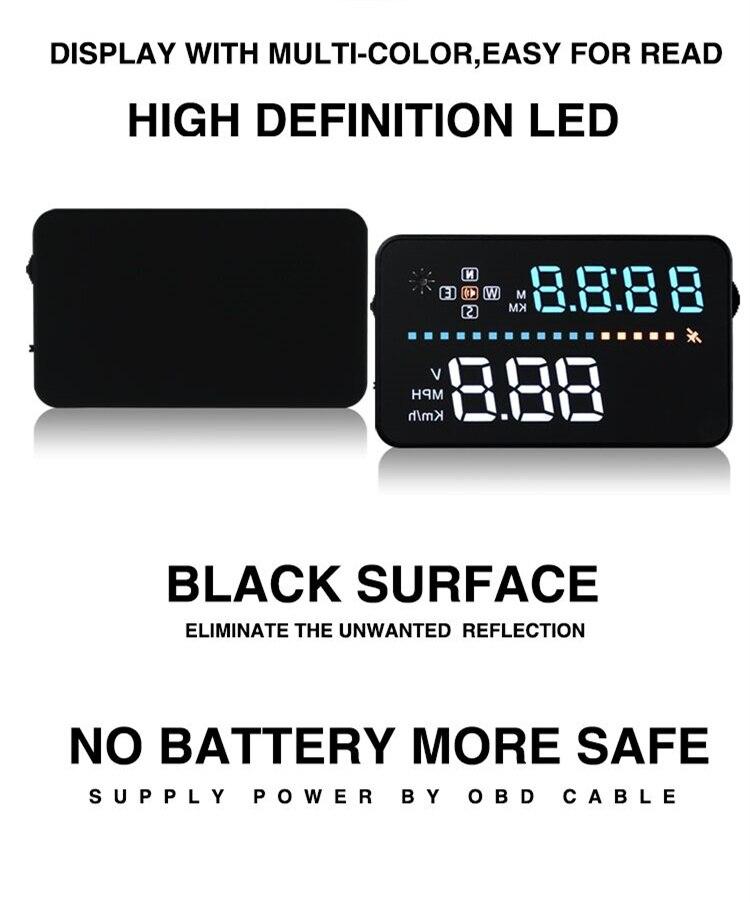 3.5 black Car HUD Head Up Display OBD2 OBDII Fuel Consumption Speed Warning System