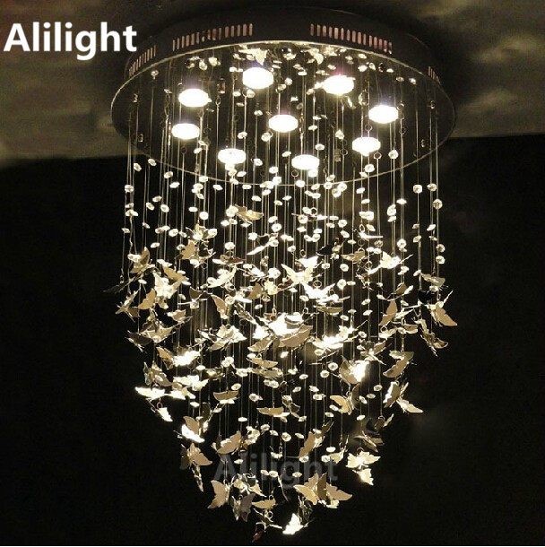 Hanging Light Fixtures Living Room Decor With Dark Brown Leather Sofa Modern K9 Crystal Lights Chrome Butterfly Ceiling Home Lamp Bedroom Caboche Lighting