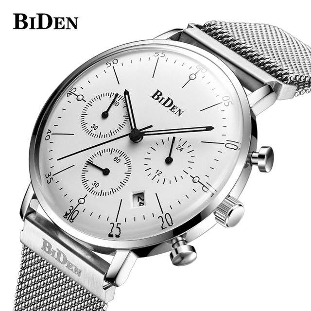 Fashion Simple Stylish Top Luxury Brand BIDEN Watches Men Stainless Steel Mesh Strap Quartz-watch Thin Dial Clock Men Wristwatch fashion simple stylish luxury brand crrju watches men stainless steel mesh strap thin dial clock man casual quartz watch black