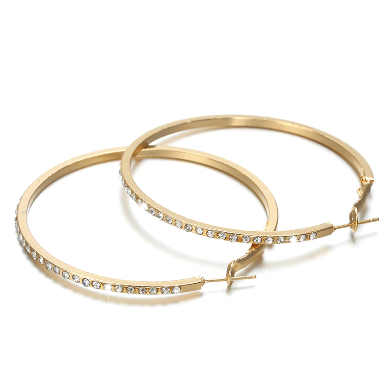 HTB1jfzxXsnrK1RjSspkq6yuvXXaS - 2018 Fashion Hoop Earrings With Rhinestone Circle Earrings Simple Earrings Big Circle Gold Color Loop Earrings For Women