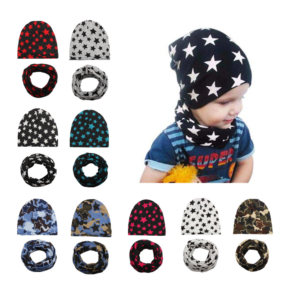 10pcs/lot Cross-border Hot Baby Scarf Hat Two-piece Suit Knitted Cap Hat Five-pointed Star Children's Hat Collar Suit