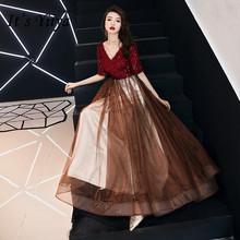 It's YiiYa A line Evening Dress Wine Red Shining V-neck Long Party Gowns Sequins Tassel Short Sleeve Formal Prom Dresses E137