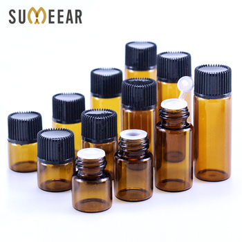 100pcs 1ml Dram Amber Glass Essential Oil Bottle Thin Glass Small Brown Perfume Oil Vials Sample Test Bottle 2ml 3ml 5ml 30pcs 2ml mini essential oil bottle jar orifice reducer