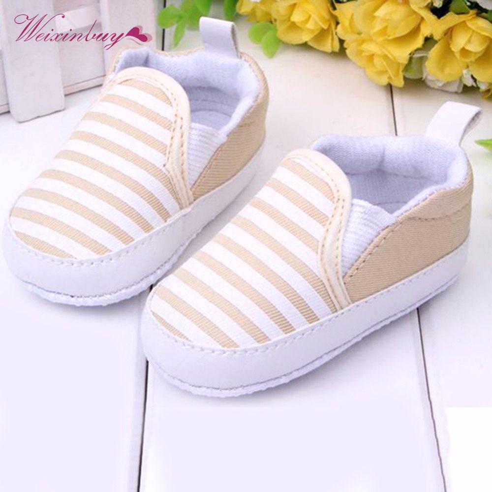 WEIXINBUY Baby Boys Shoes Infant Slip-On First Walkers Toddler Striped Canvas Sneaker Bebek Ayakkabi