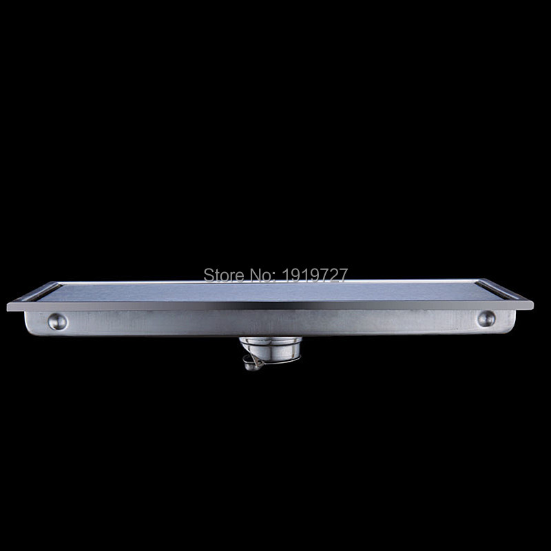 New Arrival Wholesale 304# Stainless Steel Tile In Hand Made Smart Tile Insert Shower Floor Channel Waste Grate Drain 300mm