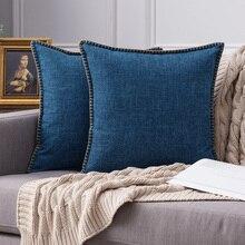 Fundas de cojín de estilo de granja de Fundas De Almohada decorativas reborde recortado de arpillería de lino decoración Vintage fundas de almohada para sofá