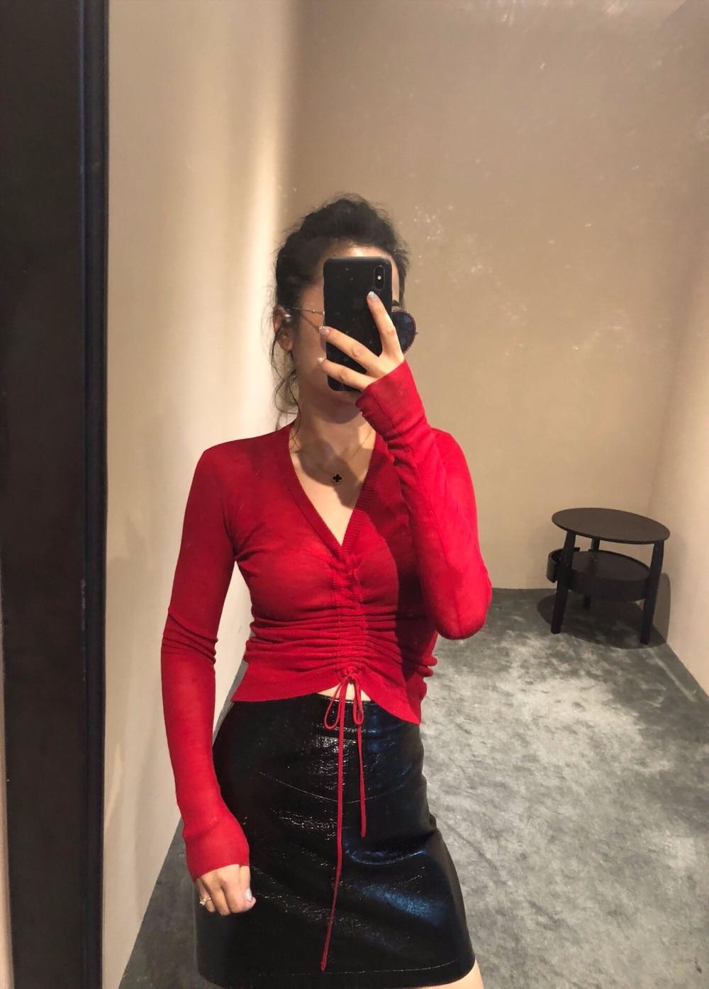 2018 Couleur Laine 5 Pull Femmes Col Sexy V Nouveau Chandail Ddxgz3 Mince Or1xO4Twcq