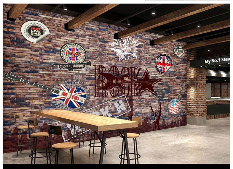 Customized 3d Wallpaper 3d Wall Murals Wallpaper Retro Brick Wall Rock And Roll Music Wall Paper
