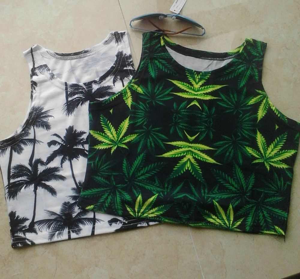 summer style womens white palm tank tops sexy low cut knitted sports bra top cropped vintage for 2015