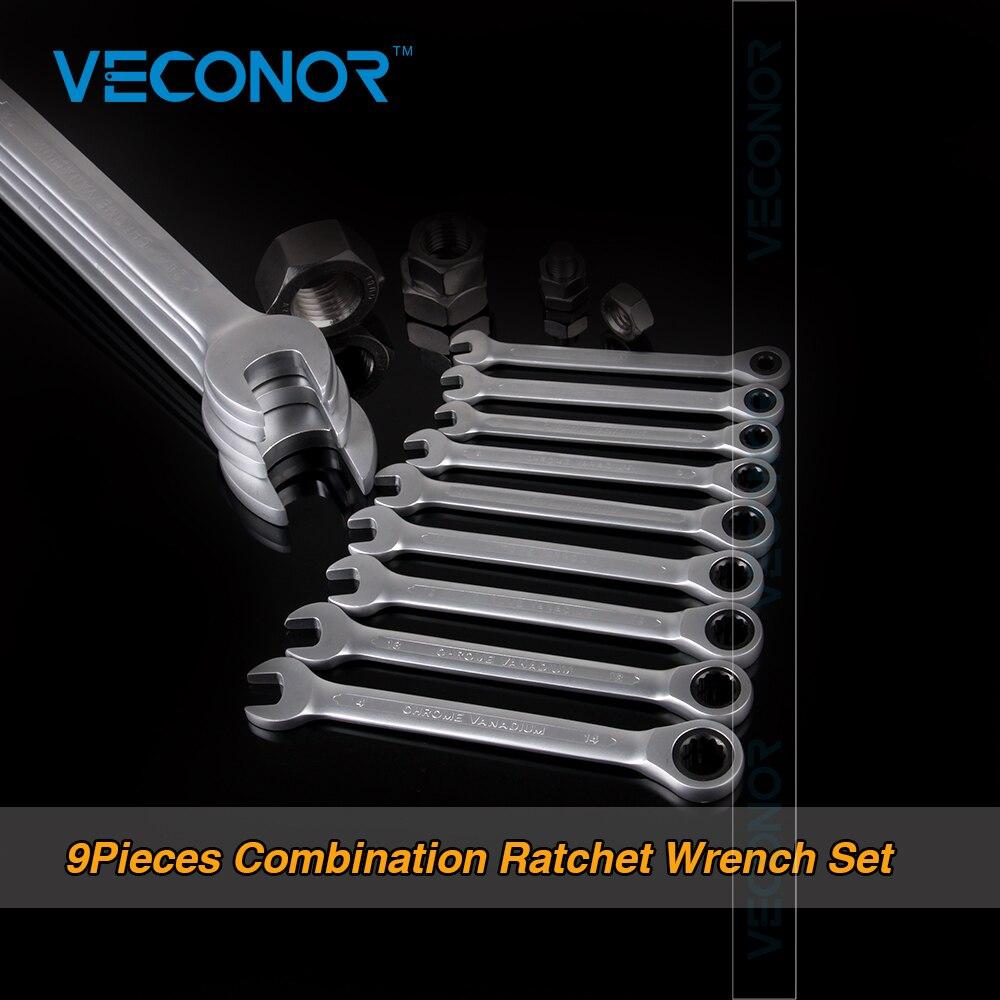 Veconor 8 10 11 12 13 14 15 16 17 мм Храповик гаечный ключ набор гаечных ключей кольцо шестерни ключ ручка фиксированной головкой черный Материал