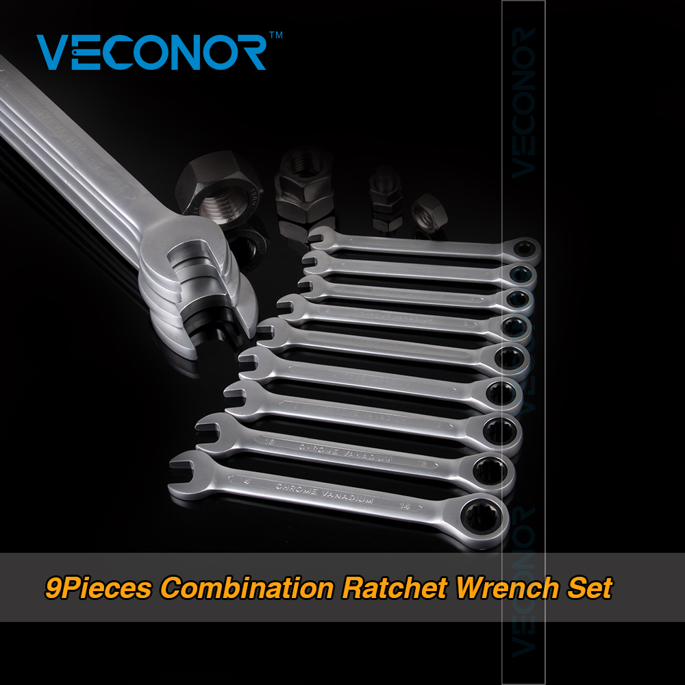 Veconor Ratchet Spanner Combination Wrench a Set Of Keys Gear Ring Wrench Ratchet Handle Chrome Vanadium 7pcs set chrome vanadium ratchet wrench set spanner set crv grear wrench