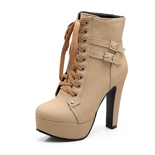 MCCKLE Plus Size Ankle Boots Women Platform High Heels Female Lace Up Women's Shoes Buckle Woman Short Boot Ladies Footwear 11