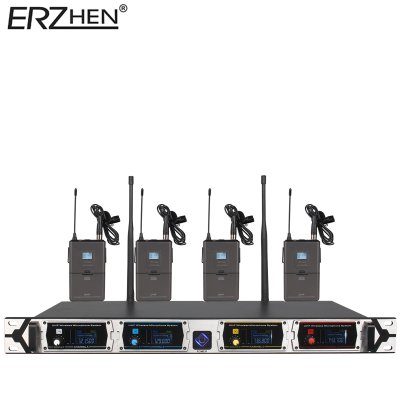 8000GT-3 Wireless Microphone System Professional UHF Channel Dynamic Microphone 4 Channel Karaoke Microphone Wireless Lapel