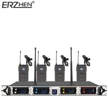 8000GT-3 Profesional Sistema de Micrófono Inalámbrico UHF Canal de Micrófono Dinámico 4 Canales Karaoke Micrófono Inalámbrico De Solapa