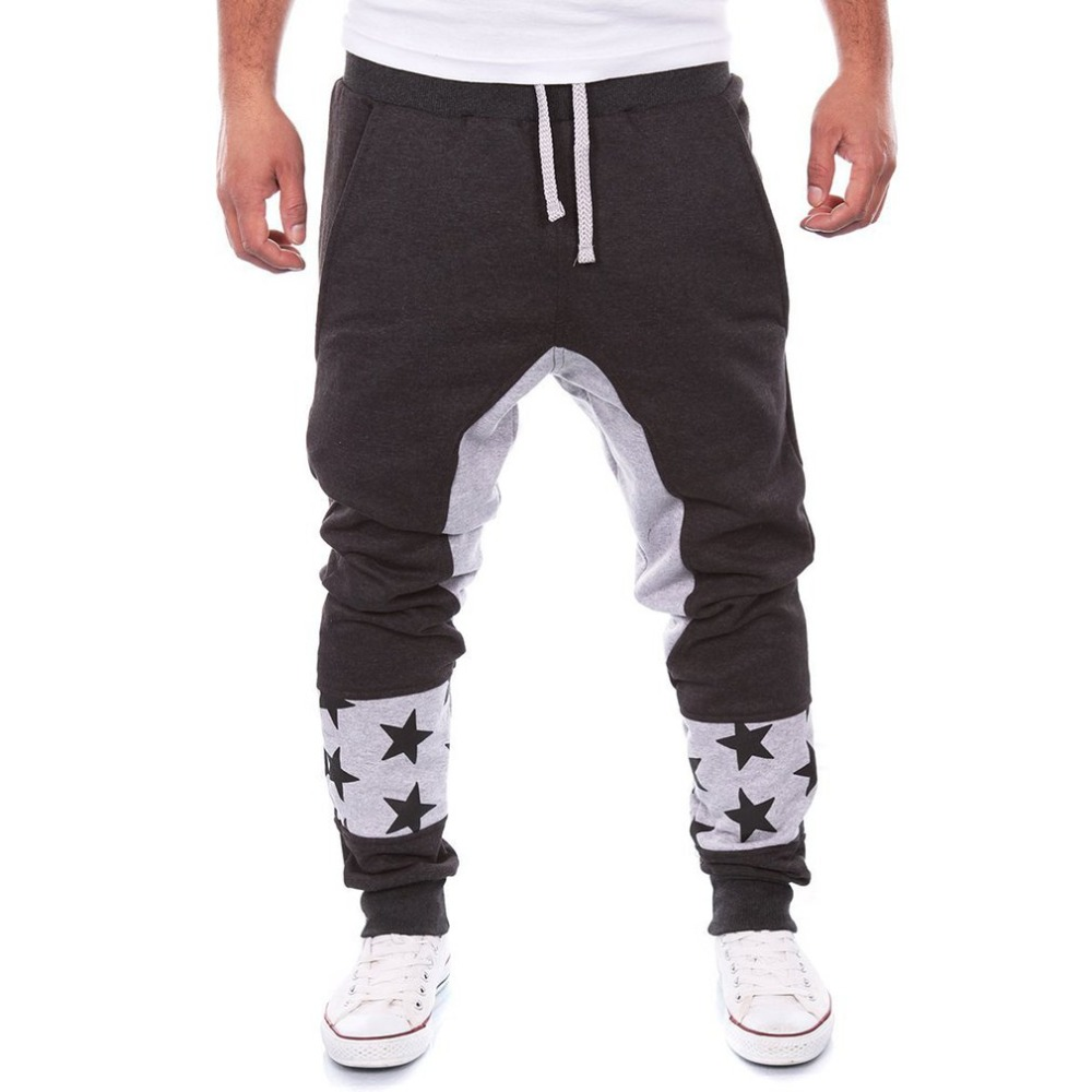 Fashion Jogger Pants Men Letter Pattern Full Length Harem Pants Male Elastic Waist Sweatpants Trousers Hip Hop Workout Pants