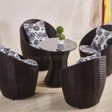 Балконный стол и стул плетеный стул из трех частей Маленький журнальный столик сочетание простой досуг открытый садовый стул