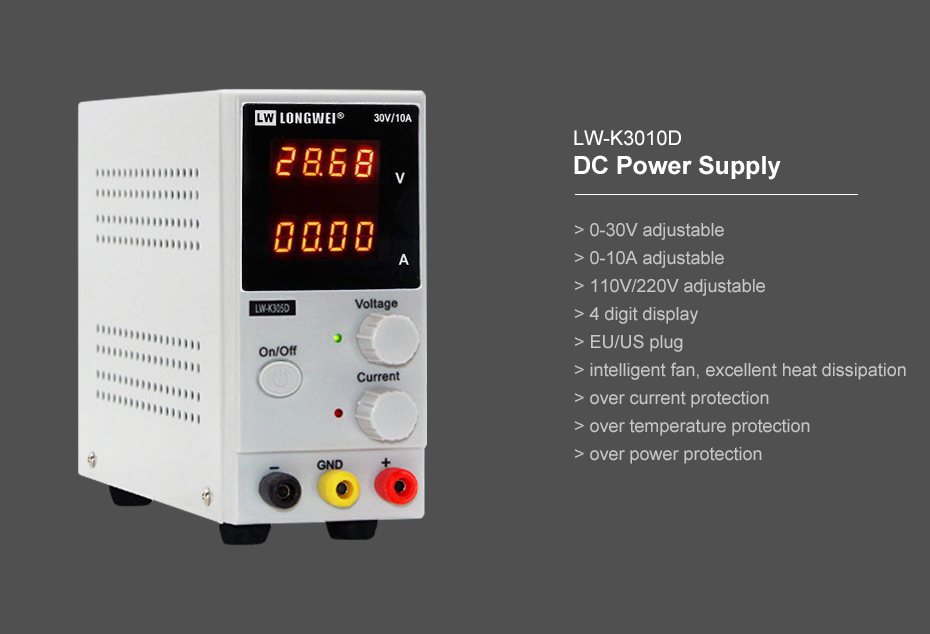 Details about  /30V//10A DC Power Supply LED Display Mobile Phone Repair Stabilizer Test Regulate