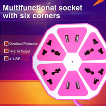 цена на Multifunction Smart Electrical Universal Hexagon Power Socket Tower Outlet 2500W with 4 USB Ports EU Plug 1.7 meter length Cable