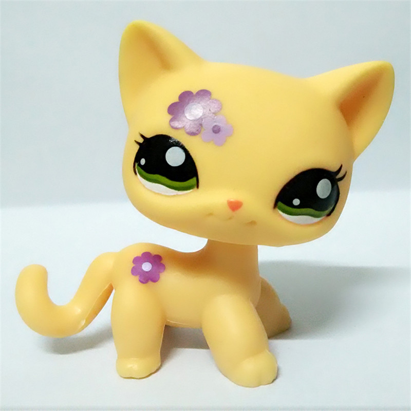 1pc LPS quality cute toys Lovely Pet shop animal yellow cat with purple flowers action figure littlest doll toys Original 5cm pet great dane pet toys rare old styles dog lovely animal pets toys lot free shipping