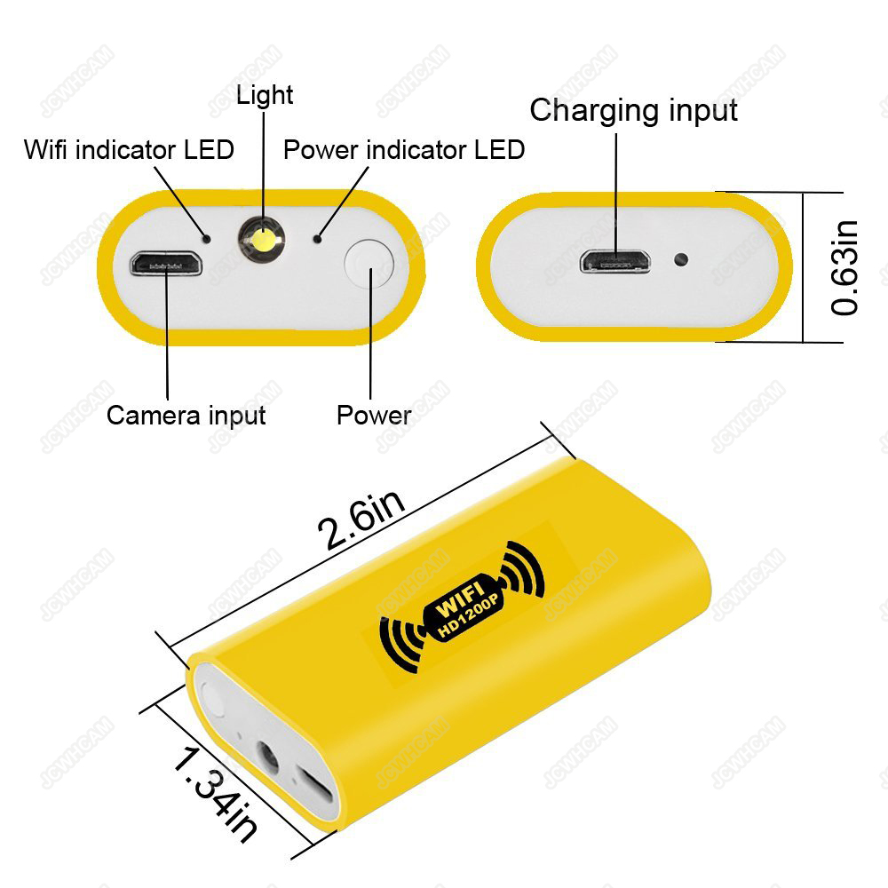 HD 1200P nastavitelná 8 LEDs WiFi endoskop kamera 8mm IP68 pevný - Videokamery a fotoaparáty - Fotografie 2