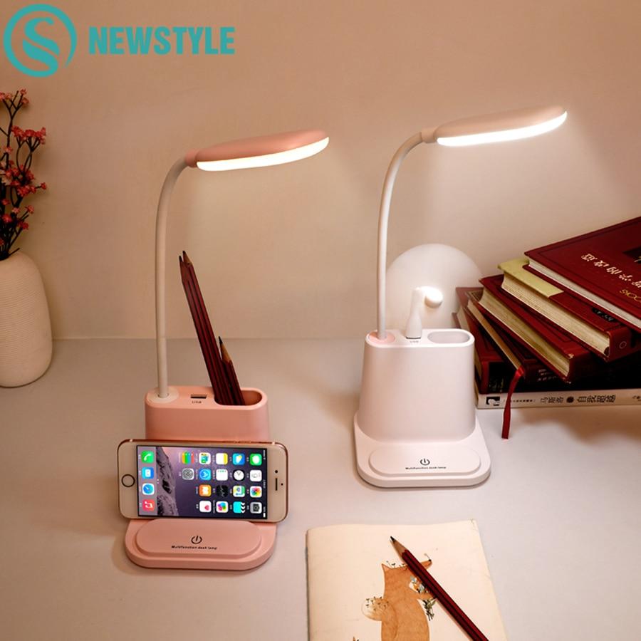 0-100% Touch przyciemniana lampa biurkowa led USB akumulator regulacja dla dzieci dzieci do czytania nauki nocna sypialnia salon