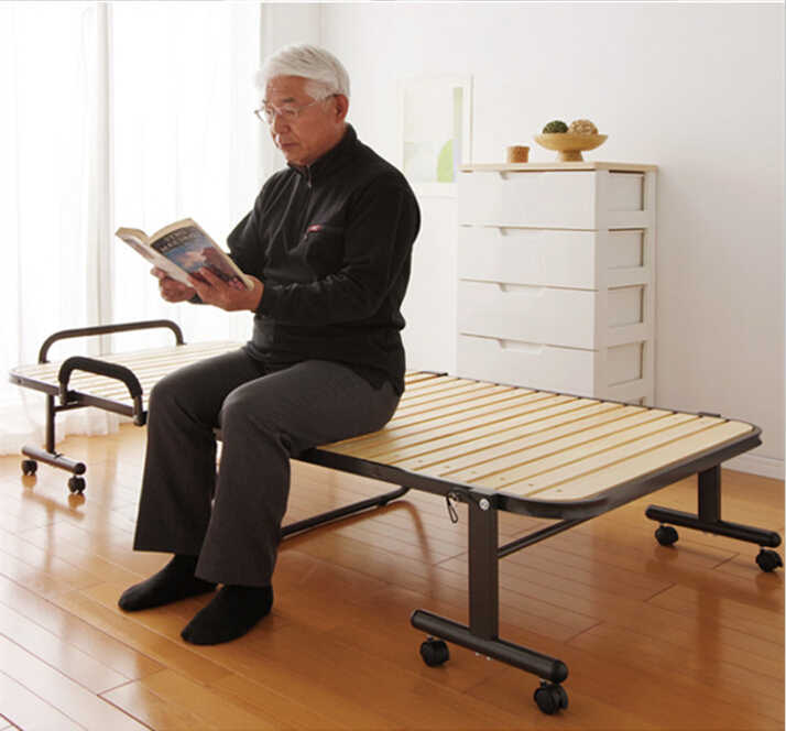 Japanese Tatami Metal Folding Bed Frame With Caters