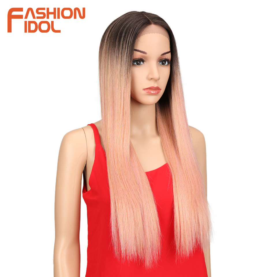 Image 3 - FASHION IDOL Synthetic Hair Lace Front Wig 26 Inch Long Straight Wig Ombre Black Pink Cosplay Wig Heat Resistant Synthetic Hair-in Synthetic Lace Wigs from Hair Extensions & Wigs