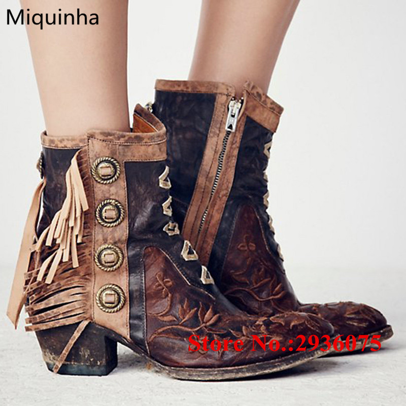 где купить New Cool Western Cowgirl Ankle Boots Retro Embroidery Floral Metal Studded Fringe Women Boots Tassel Stacked Heels Bota Feminina по лучшей цене
