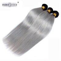 Fashion Queen Hair 1b/Grey Ombre Peruvian Straight Hair Bundles 10 30 Inch 100% Human Hair Bundles Remy Hair Extensions