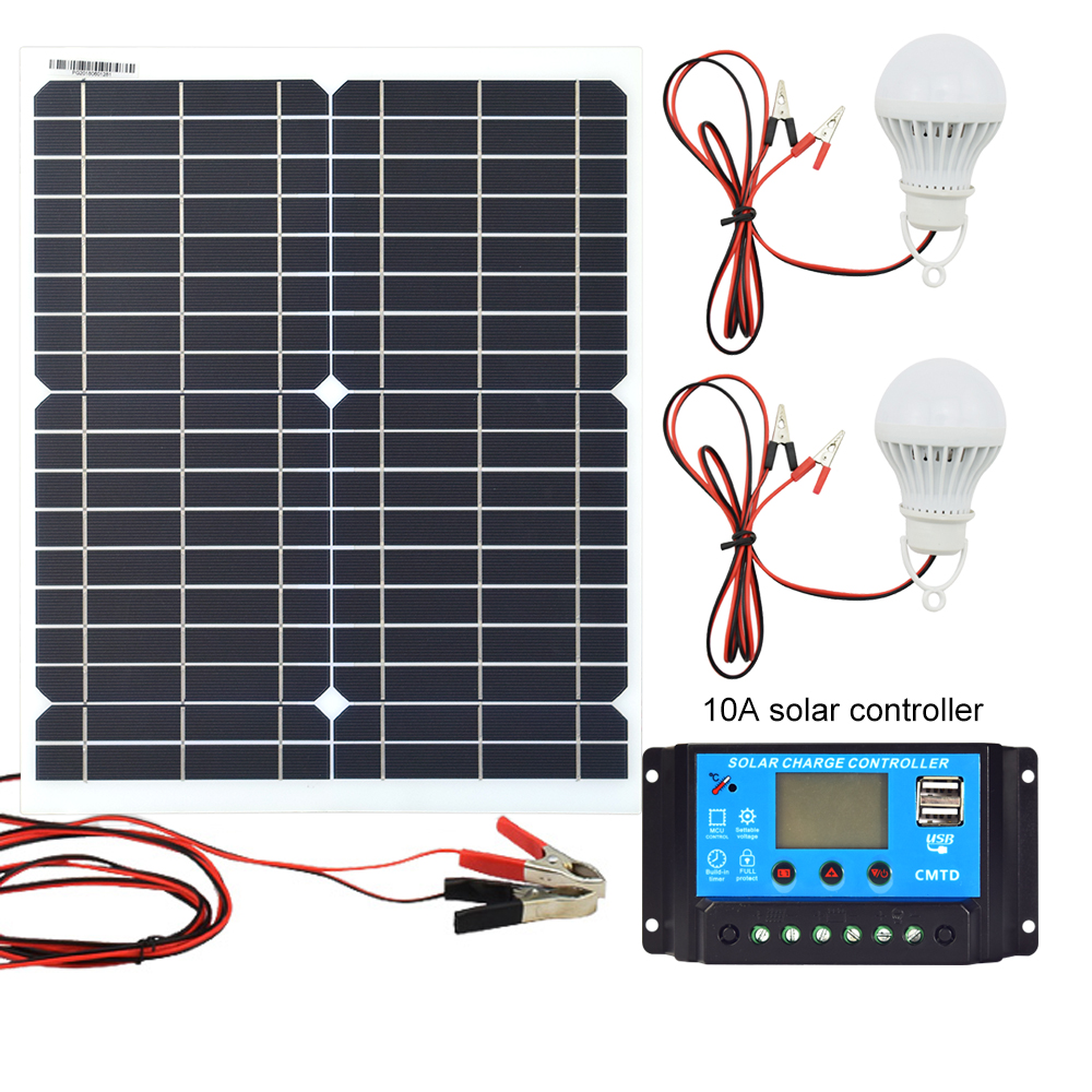20W 12V Monocrystalline Solar Panel PWM 10A Charge Controller Battery Charger Kit 2 LED Light For