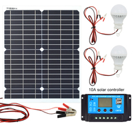 20W 12V Monocrystalline Solar Panel+ PWM 10A Charge Controller Battery Charger Kit +2 LED Light For RV Car Boat Tourism