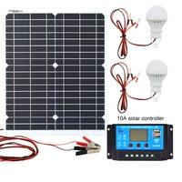 20 Вт 12 В монокристаллическая солнечная панель + ШИМ 10А Контроллер заряда зарядное устройство для аккумуляторов в комплекте + 2 светодиодный ...