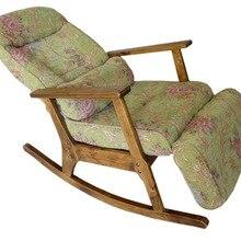 Silla mecedora de madera moderna para gente mayor estilo japonés silla reclinable fácil con reposabrazos y taburete