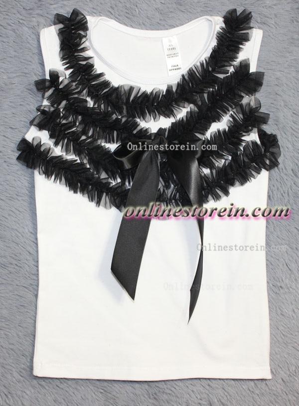 Baby Girl petti top WHITE cotton T shirt ruffles chiffon ribbon girls tshirt sleeveless
